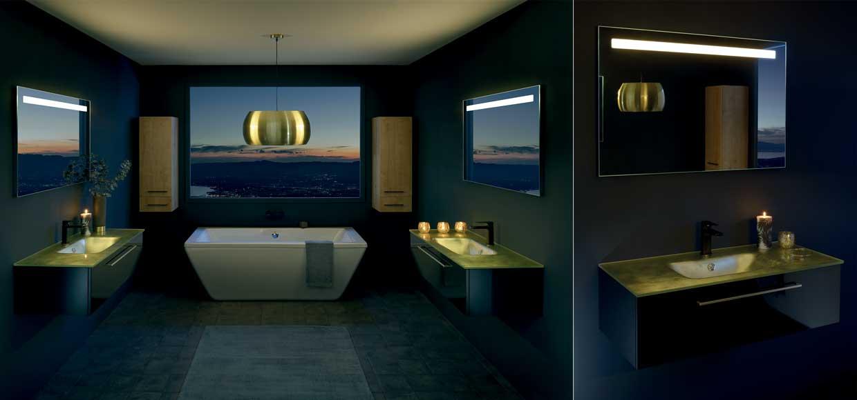 Salle de bain halo noir - Sanijura