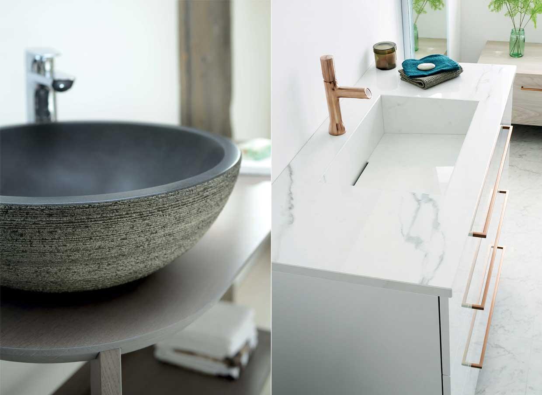 vasque en pierre et plan vasque en marbre de synthèse - Sanijura