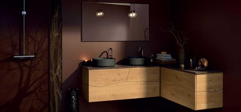 Meuble sherwood bois massif et vasque à poser noir céramique - Sanijura