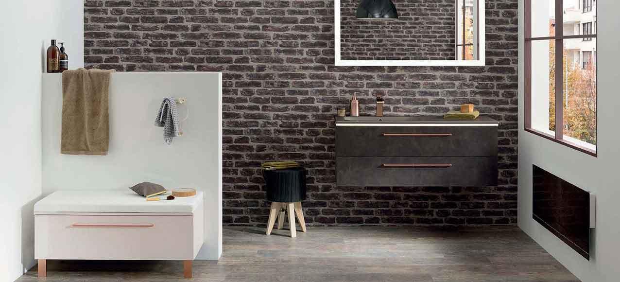 Salle de bain lumen esprit industriel avec douche italienne - Sanijura