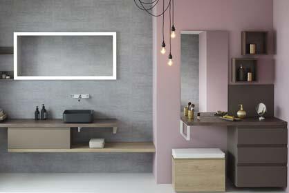 salle de bain romantique rose et marron glacée - Sanijura