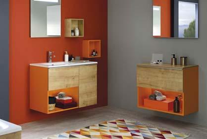 salle de bain orange et bois - Sanijura