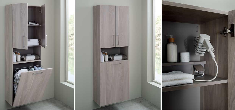 Colonne de salle de bain elemento avec bac de rangement  - Sanijura